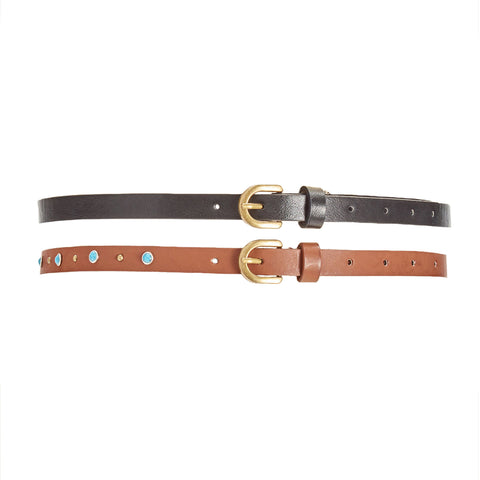 INC International Concepts Womens Studded 2-For-1 Belts (Black/Cognac, Large)