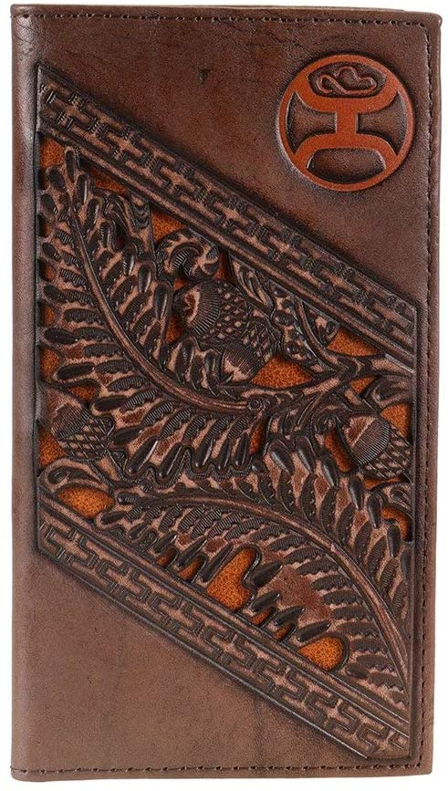 Hooey Mens Leather Rodeo Wallet With Tooling And Inlay, Rustic Mahogany Brown
