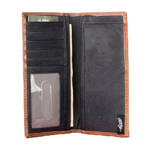 Hooey Mens Leather Rodeo Checkbook Cover Wallet (Walnut / Chestnut Brown)