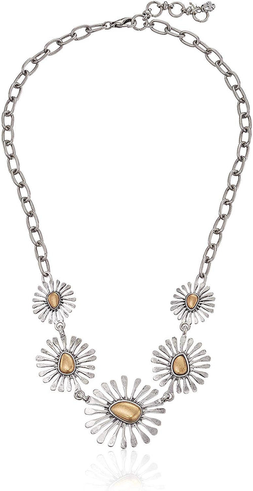 Lucky Brand Women's Two-Tone Floral Collar Necklace