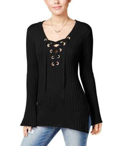 Ultra Flirt Juniors' Lace Up Ribbed Bell-Sleeve Sweater