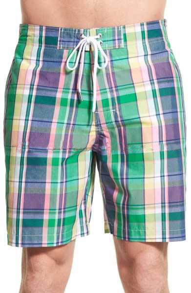 Southern Tide Mens Plaid Swim Trunks (Bright Green, XX-Large)