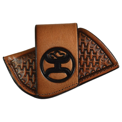 Hooey Side Draw Signature Logo Leather Knife Sheath (Brown / Black, Small)