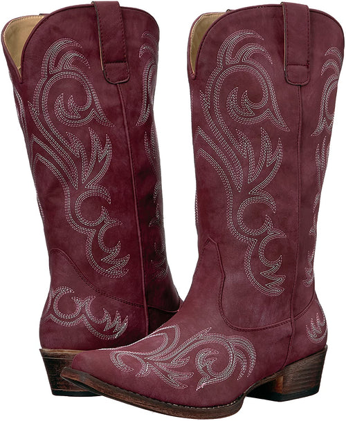 Roper Womens Riley Fashion Faux Leather Snip Toe Western Boot