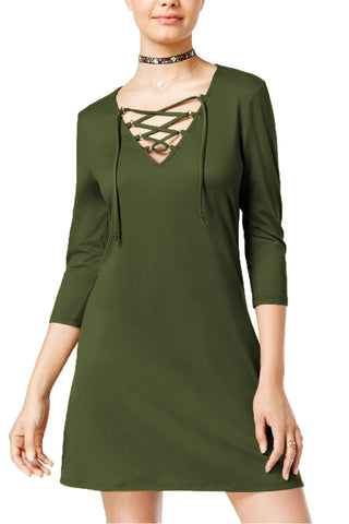 Be Bop Juniors' Super Soft Lace-up Dress (Olive, X-Small)