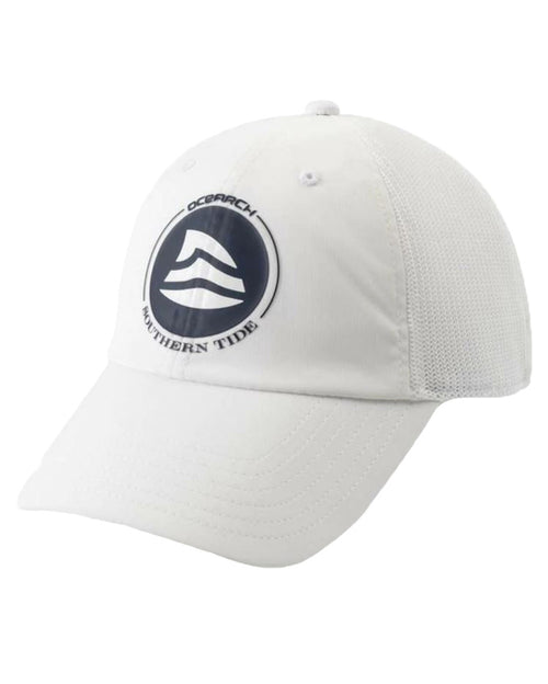 Southern Tide Mens Ocearch Fin Fitted Trucker Cap Hat (White)