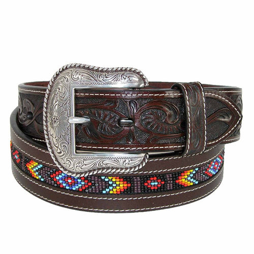 Roper Mens Hand-Tooled Beaded Silver Buckle Leather Belt