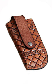 Hooey Crosshatch Signature Logo Leather Knife Sheath (Brown / Teal, Small)