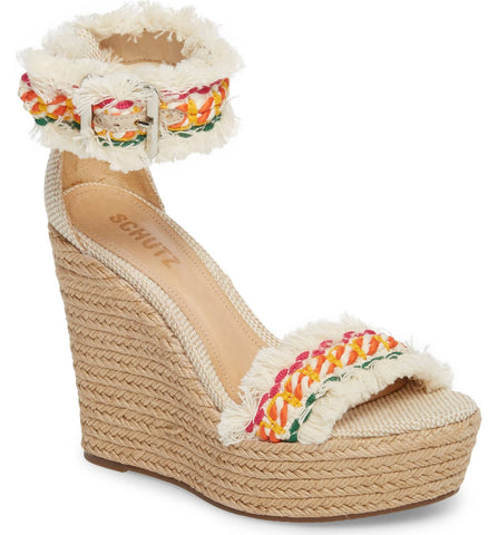 Schutz Womens Munika Woven Ankle Strap Wedge Sandals