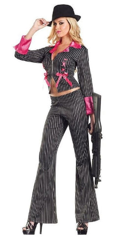 Be Wicked Costume Collection Sexy Women's 2 Piece Pimpin' Pretty Mafia