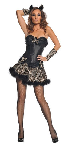 Underwraps Women's Sexy Leopard Bustier Mini Skirt Costume