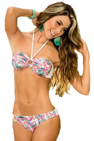 AM:PM by Espiral Womens 2 Piece Bikini Swimsuit Bandeau Top Hip Ring Bottoms (Prints,Small)