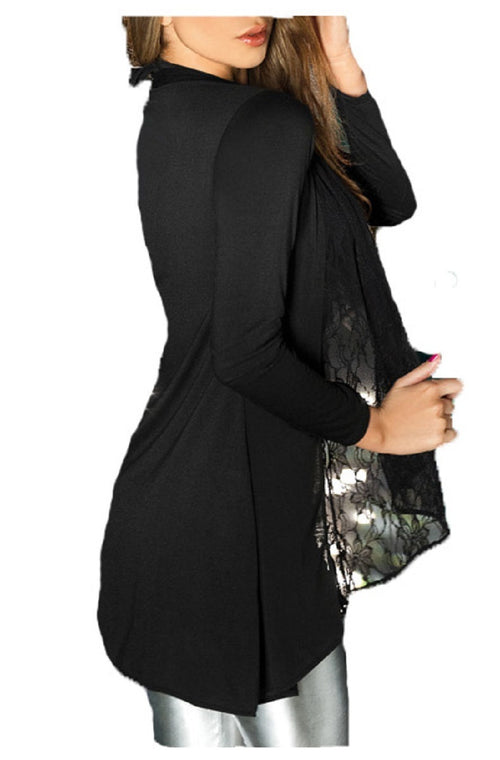 AM:PM by Espiral Womens Long Sleeve Light Cardigan Sweater with Lace Draping (Black,Small)