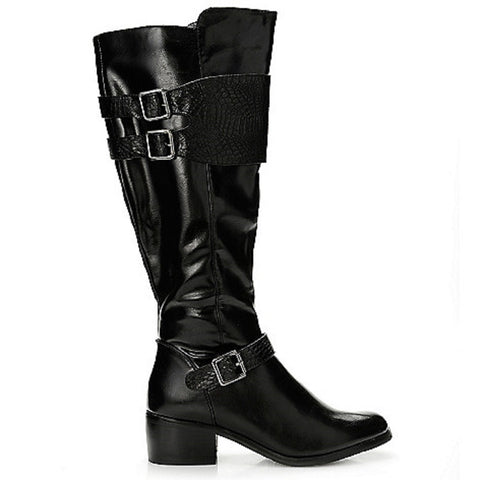 Corkys Womens Wyatt Leather Riding Boots with Crocodile Print Buckle Detail