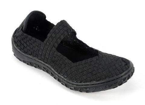 Corkys Footwear Women's Liz Elastic Weave Mary Jane Slip-On Comfort Shoe