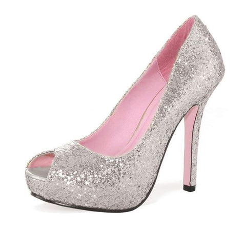 "Leg Avenue Women's Ella Open Toe Glitter Pump with 1"" Covered Platform Heel"