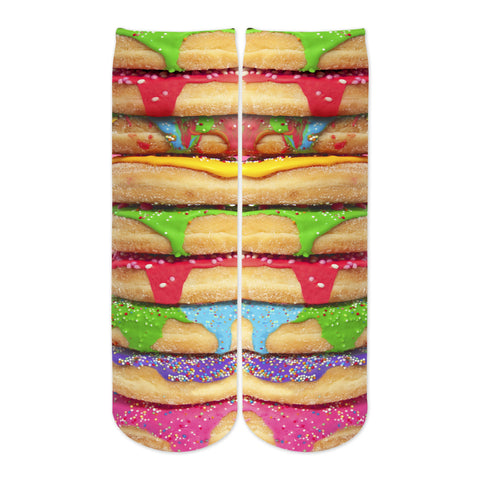 Sublime Designs Adult Fun Printed Crew Socks-Sweet Savory Frosted Sprinkle Donut