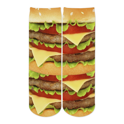 Sublime Designs Adult Fun Printed Crew Socks-Savory Cheese Hamburger Foodie