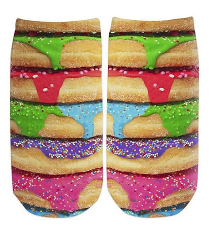 Sublime Designs Adults Fun Printed No Show Socks-Sweet Savory Sprinkle Donut