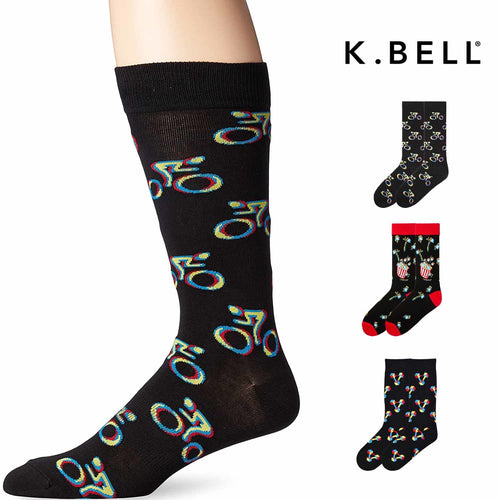 K. Bell Mens 1 Pack Fun Novelty 3D Design Cool Fashion Crew Socks with Glasses