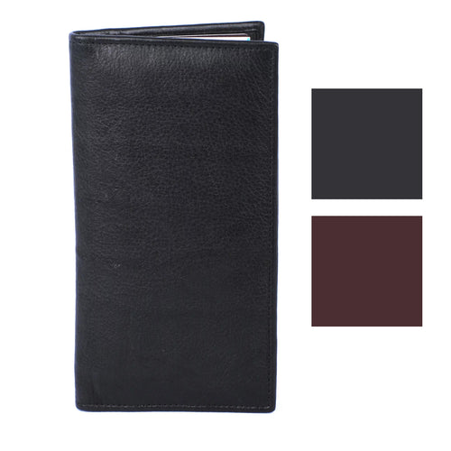 Roma Leathers Genuine Leather RFID Safe Zip Pocket Checkbook Style Wallet