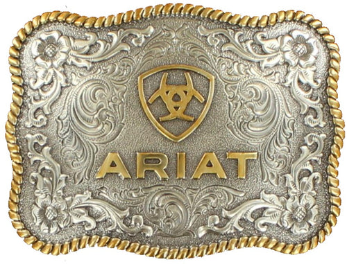 Ariat Mens Rectangle Two Tone Floral Filigree Belt Buckle (Silver/Gold)