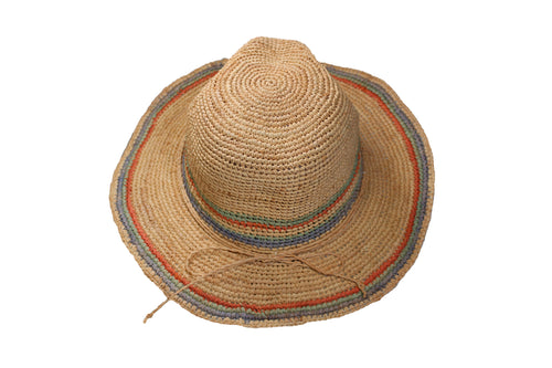 Scala Womens Crocheted Western Raffia Straw Hat (Natural/Multicolor, One Size)