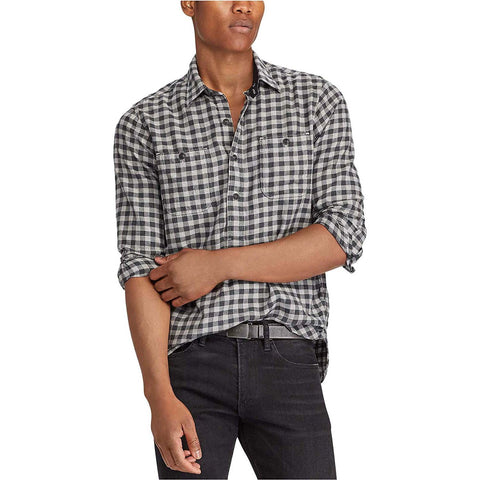 Polo Ralph Lauren Men's Regular-Fit Plaid Flannel Shirt (Grey, Small)