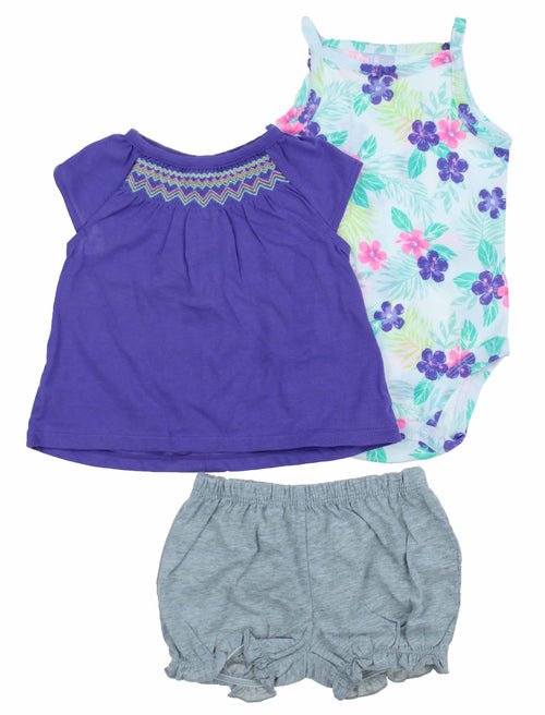 Carters Little Girls Summer Outfit 3 Piece Set