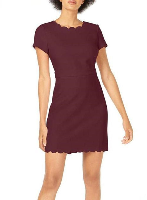 Maison Jules Womens Scalloped Hem and Neckline Sheath Dress (Ruby Wine, 6)