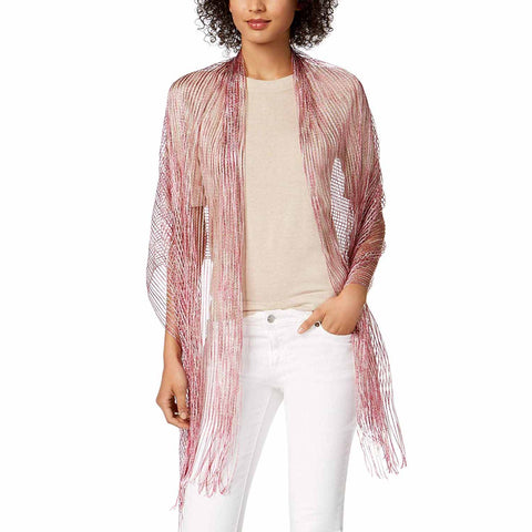 INC International Concepts Womens Space-Dyed Metallic Wrap (Pink, One Size)
