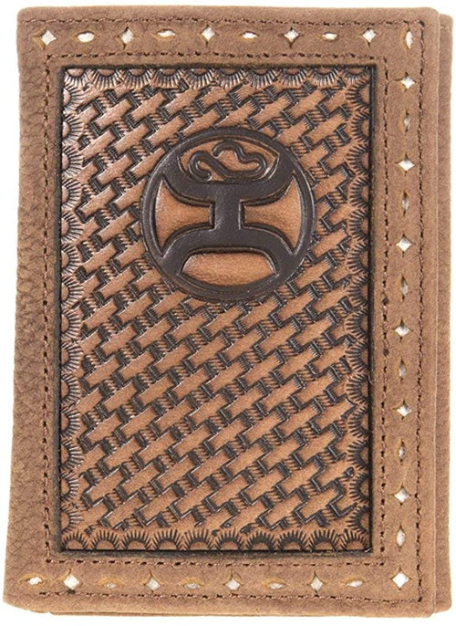 Hooey Mens Signature Logo Leather Basket-weave Tri-fold Wallet, Brown
