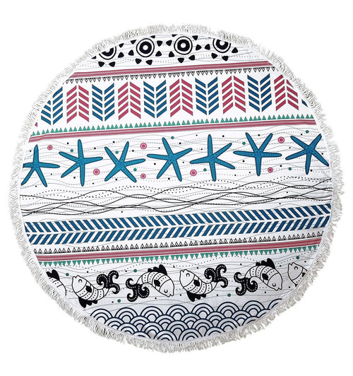 Round Beach Towel with Fringe Tassles Soft and Cozy Mandala Roundie