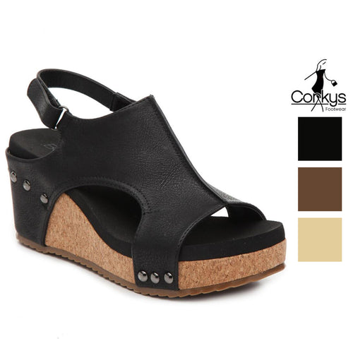 Corkys Womens Carley Wedge Heel Sandals