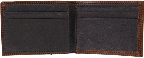 Hooey Mens Embossed Leather Front Pocket Bi-Fold Wallet, Brown