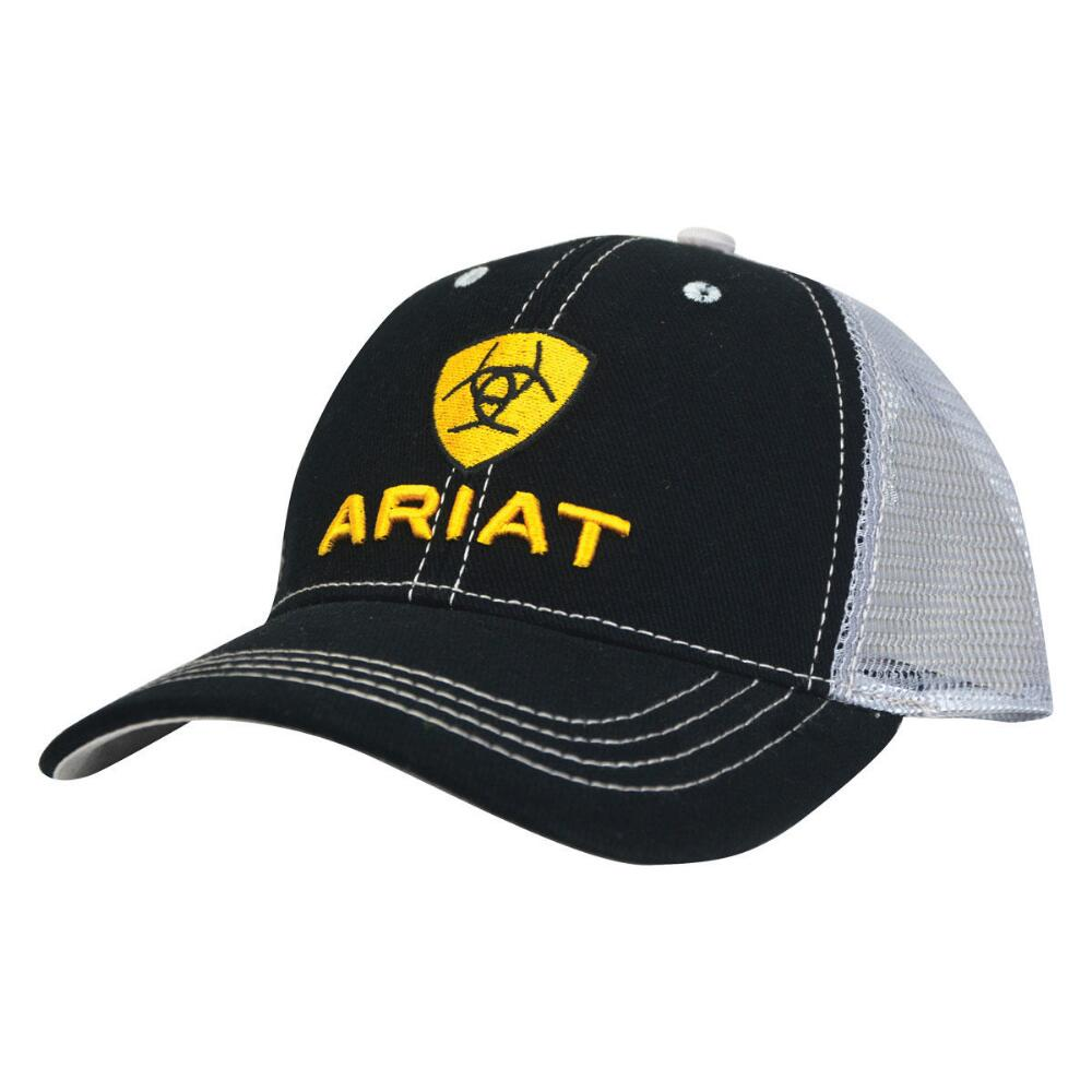 7d158234 Ariat Mens Black and Grey with Yellow Logo Mesh Back Snapback Cap