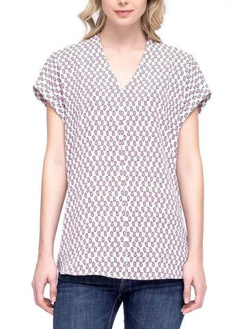 Pleione Womens Printed Cap Sleeve V-Neck Top