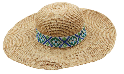 Flora Bella Womens Simona Shape-able Sun Hat (Natural/Bering Blue, One Size)