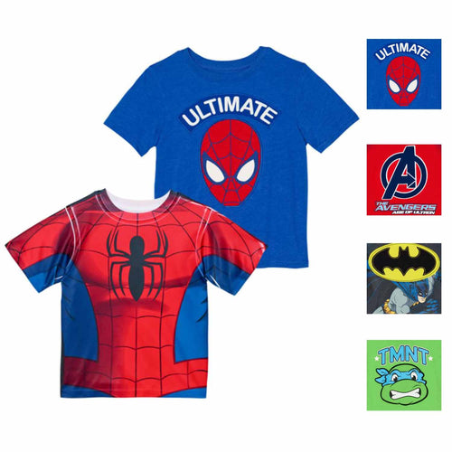Boys Superhero Character Graphic 2 Pack T-Shirt Set