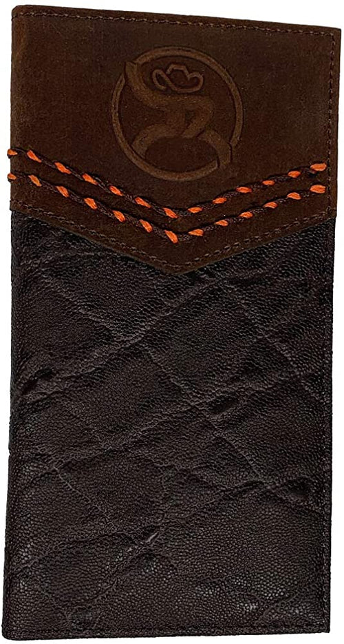 Hooey Mens Textured Leather Roughy Logo Rodeo Wallet (Brown, Orange Stitching)