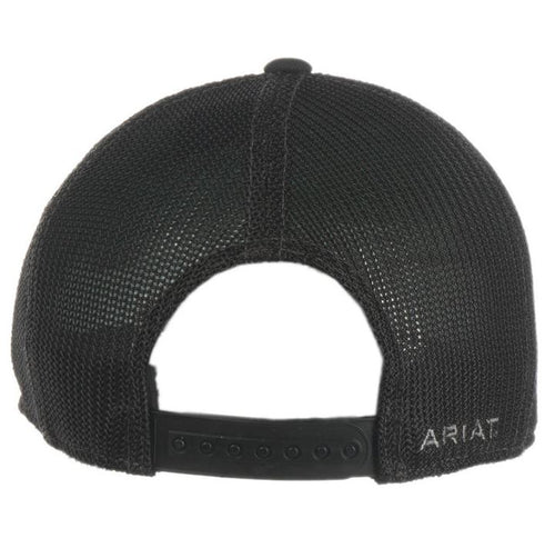 Ariat Mens Black with Grey Embroidered Logo Mesh Snap Back Cap