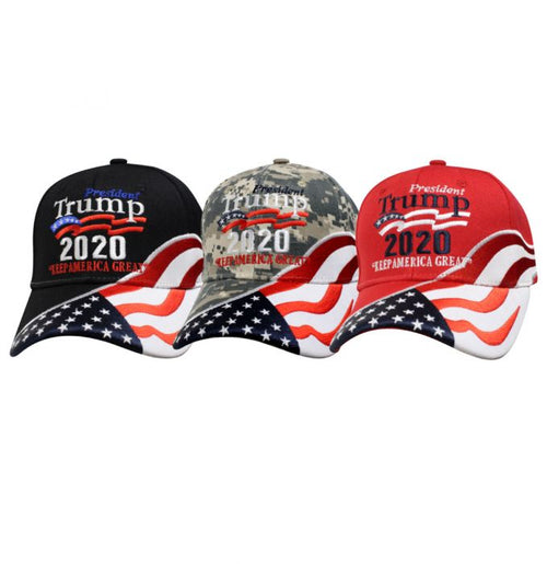 President Trump 2020 Keep America Great Embroidered Flag Ball Cap
