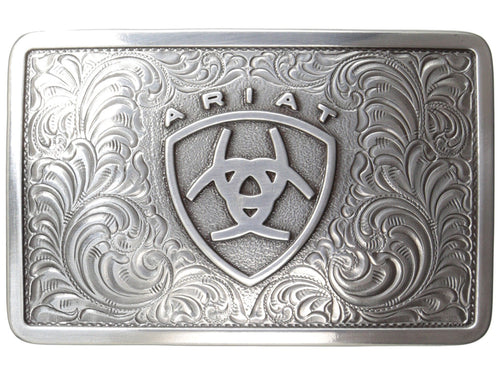 Ariat Mens Rectangle Filagree Shield Belt Buckle (Silver)