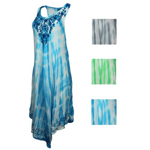 Aqua Blue Womens Sleeveless Linen Cover Up Dress