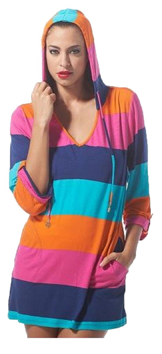 0a3b6870f6 Macbeth Collection Beach Candie Womens Hooded Pullover Swim Cover-Up Tunic  Top