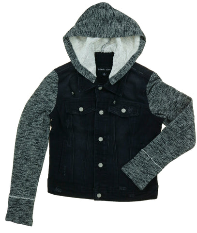 Black Rivet Women's Button Closure Hooded Denim Jacket