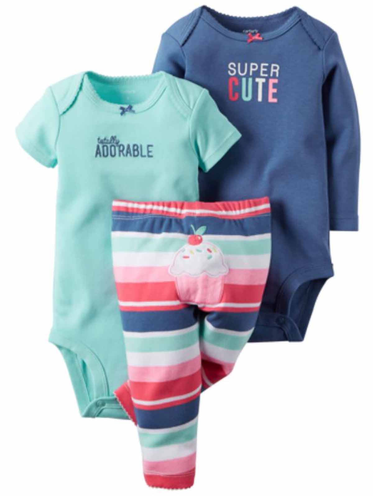 4397f6b5c Carters Baby Girl's 3 Piece Matching Outfit Set-2 Onsies, 1 Pant ...