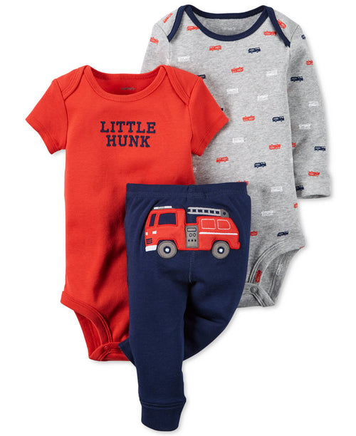 Carter's Baby Boy's 3 Piece Matching Outfit Set-2 Onsies, 1 Pant