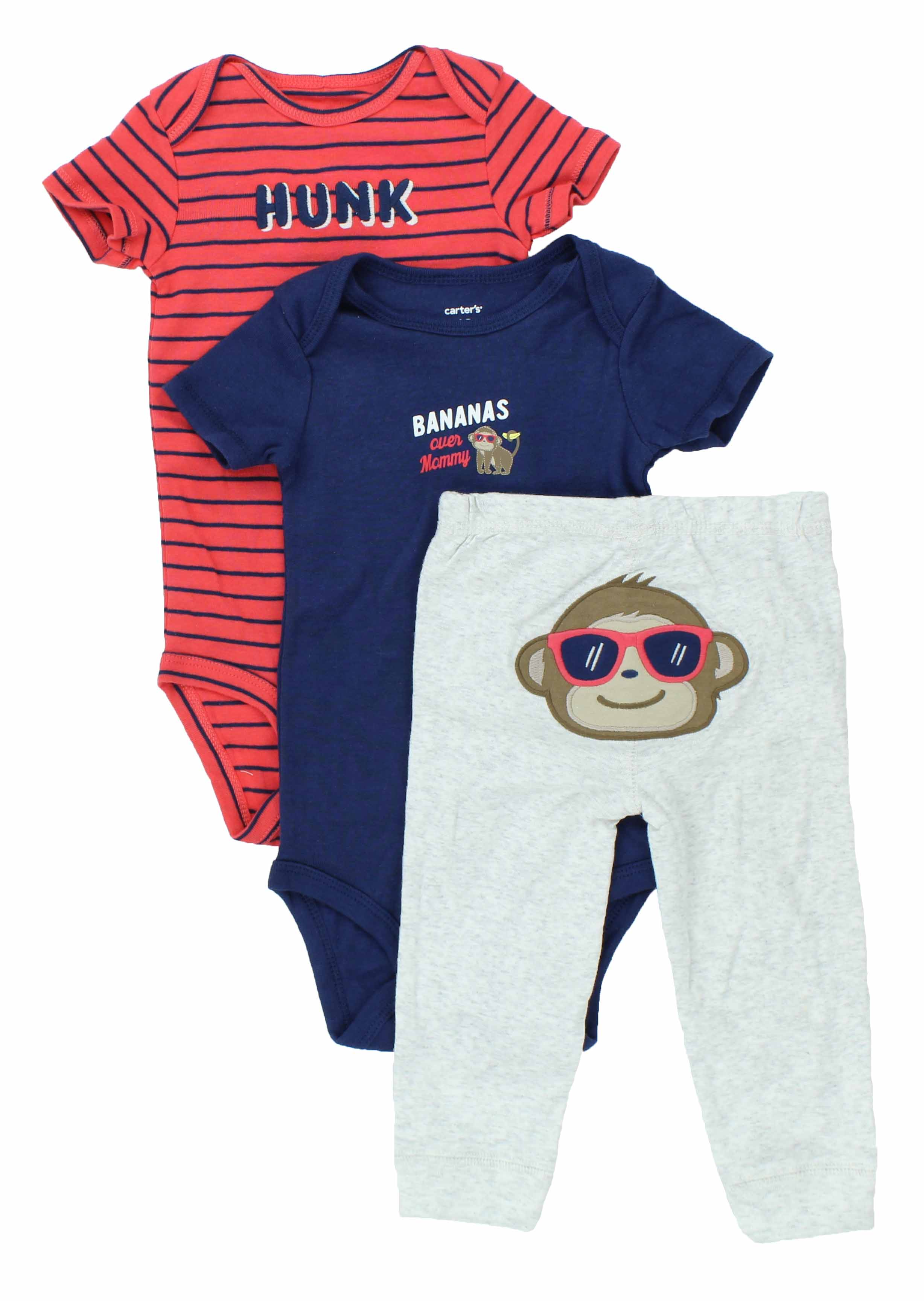 Carters Baby Boys 3 Piece Matching Outfit Set 2 Onsies 1 Pant Pieces Orange Mickey Mouse
