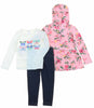 Carters Toddler Girls 3 Piece Matching Outfit Kids Set-2 Tops, 1 Pant Bottom